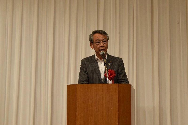 挨拶する茨城県JA中央会会長 佐野治様