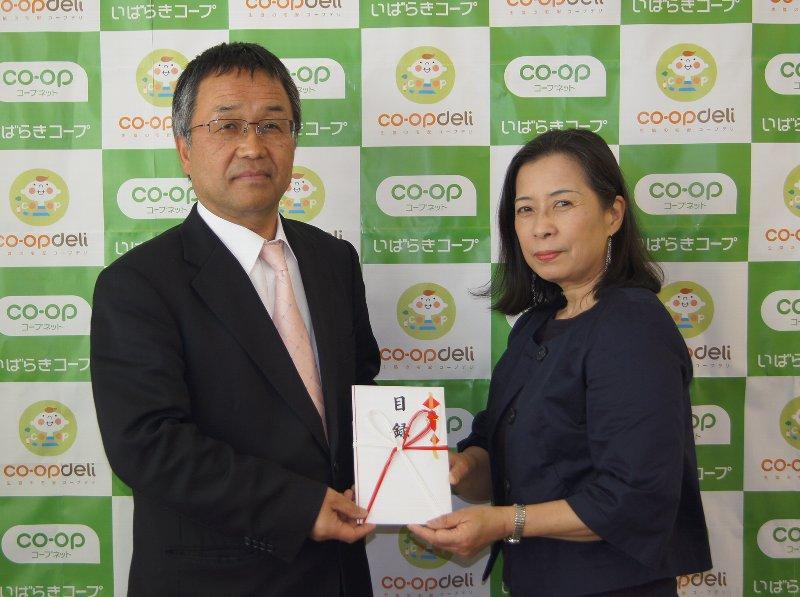左)佐藤洋一理事長 右)茨城県ユニセフ協会事務局長小澤八千代様